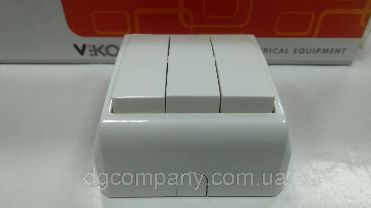 Вимикач 3-х клавішний накладної Viko Vera білий 90681068
