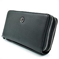 Мужской кожаный клатч-кошелёк H.T.Leather Чёрный (162-12)