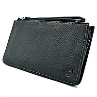 Мужской кожаный клатч-кошелёк H.T.Leather Чёрный (1-162-98)