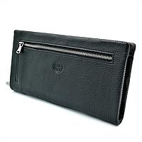 Мужской кожаный клатч-кошелёк H.T.Leather Чёрный (1-162-99А)