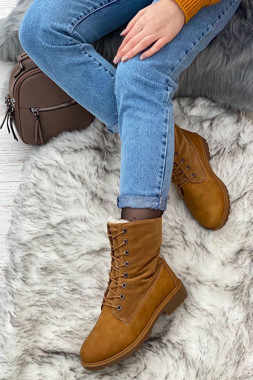 Ботинки женские зимние 8 пар в ящике коричневого цвета 36-41