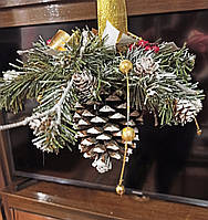 Новогодний подвесной декор из большой шишки h 35см в подарок на Новый год 2021 Ручная работа