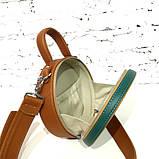 Сумка круглой формы, цвет коньяк/ карамель/ морская волна, фото 7