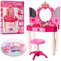 Детский туалетный косметический столик-трюмо со стульчиком Кокетка, звук, свет, фен, украшения, розовый