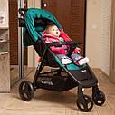Детская прогулочная коляска зеленая Carrello Maestro черная рама чехол на ножки подстаканник дождевик, фото 4