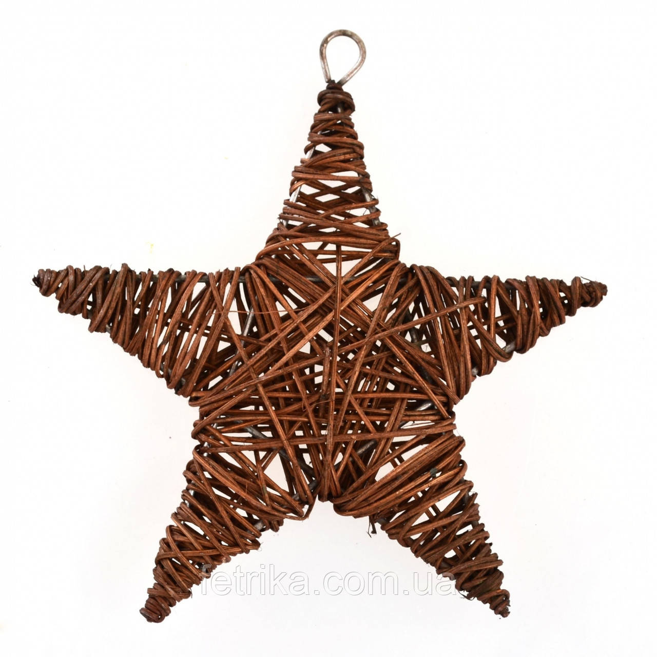 Декоративная ротанговая звезда коричневая, 15 см