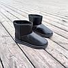Угги черные мужские UGG эко кожа кожаные низкие короткие ботинки сапоги зимние, фото 4