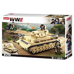 """Конструктор Sluban M38-B0693 """"Німецький середній танк Panzer IV 2в1"""" 543 деталей."""