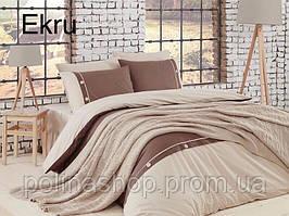 """Постільна білизна Євро з плетеним пледом First Choice Nirvana Style """"Ekru"""" Туреччина"""