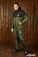 Костюм мужской зимний лыжный спортивный Nike, хаки куртка стеганая с капюшоном/брюки дутые теплые плащевка