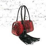Сумка-багет со съемным декором и кожей под питон, цвет черно-красный, фото 3