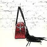 Сумка-багет со съемным декором и кожей под питон, цвет черно-красный, фото 6