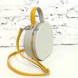 Сумка круглой формы, цвет светло-серый/беж/желтая горчица, фото 4