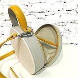 Сумка круглой формы, цвет светло-серый/беж/желтая горчица, фото 5