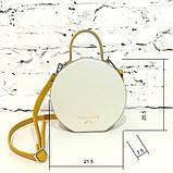 Сумка круглой формы, цвет светло-серый/беж/желтая горчица, фото 3