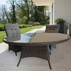 Обеденный комплект мягкой плетеной мебели Abbey из стола (доступен в четырех размерах на выбор) и шести кресел