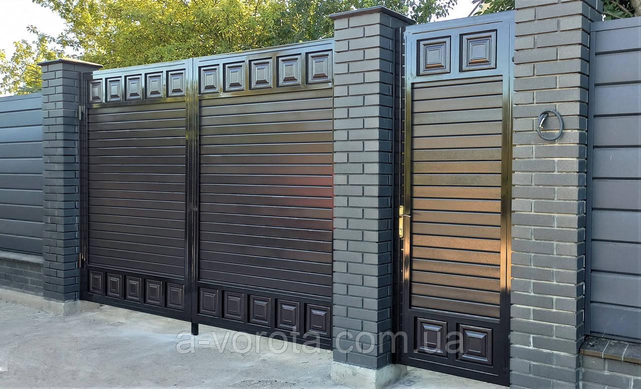 Металлические распашные ворота TM Hardwick ш3600 в2200 мм (дизайн Премиум)