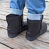 Угги черные мужские UGG эко кожа кожаные низкие короткие ботинки сапоги зимние, фото 3