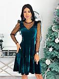 Нарядное барханое платье с рукавами изсетки 50-615, фото 2