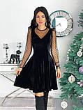 Нарядное барханое платье с рукавами изсетки 50-615, фото 4