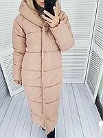 Зимняя теплая длинная  куртка пальто пуховик оверсайз одеяло с капюшоном плащевка + силикон 46-48