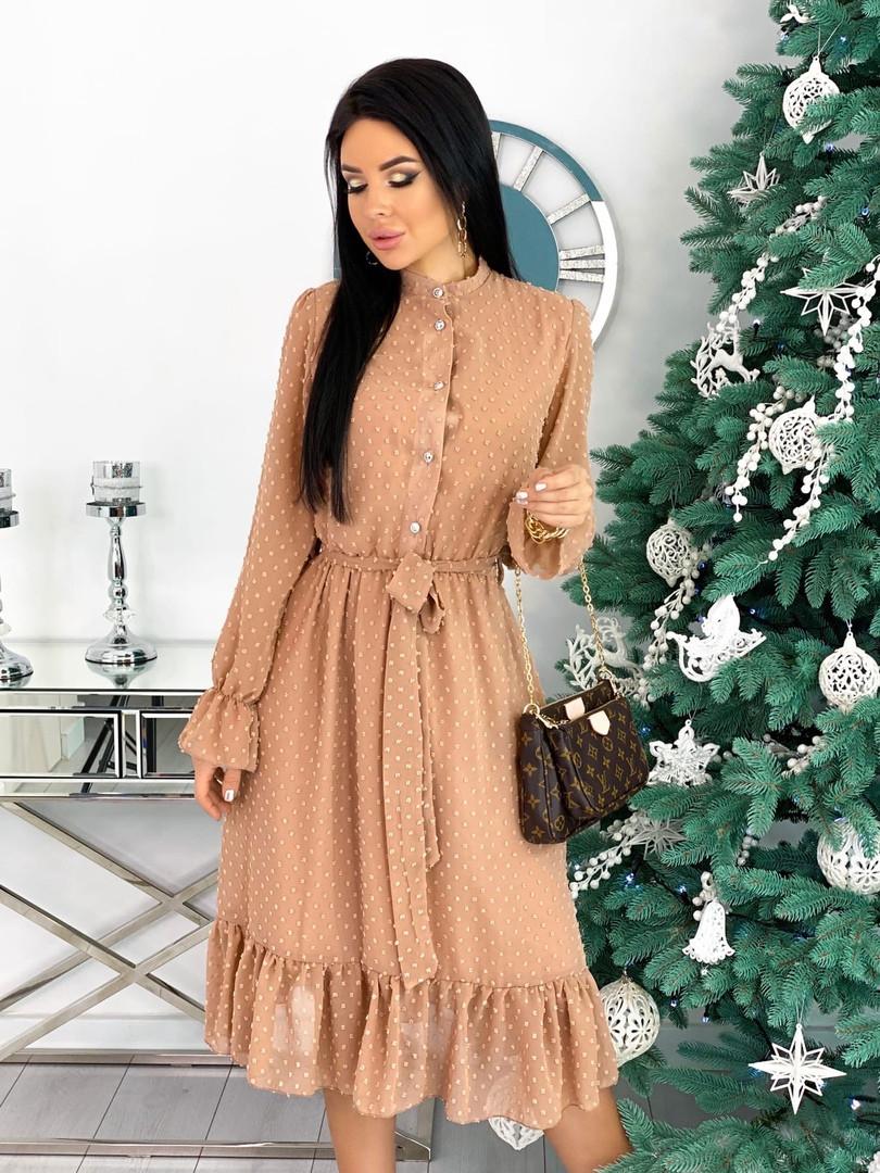 Шифоновое платье с длинным рукавом 50-617