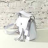 Сумка-почтальонка с декоративным плетением и съемной декором бахромой, фото 5