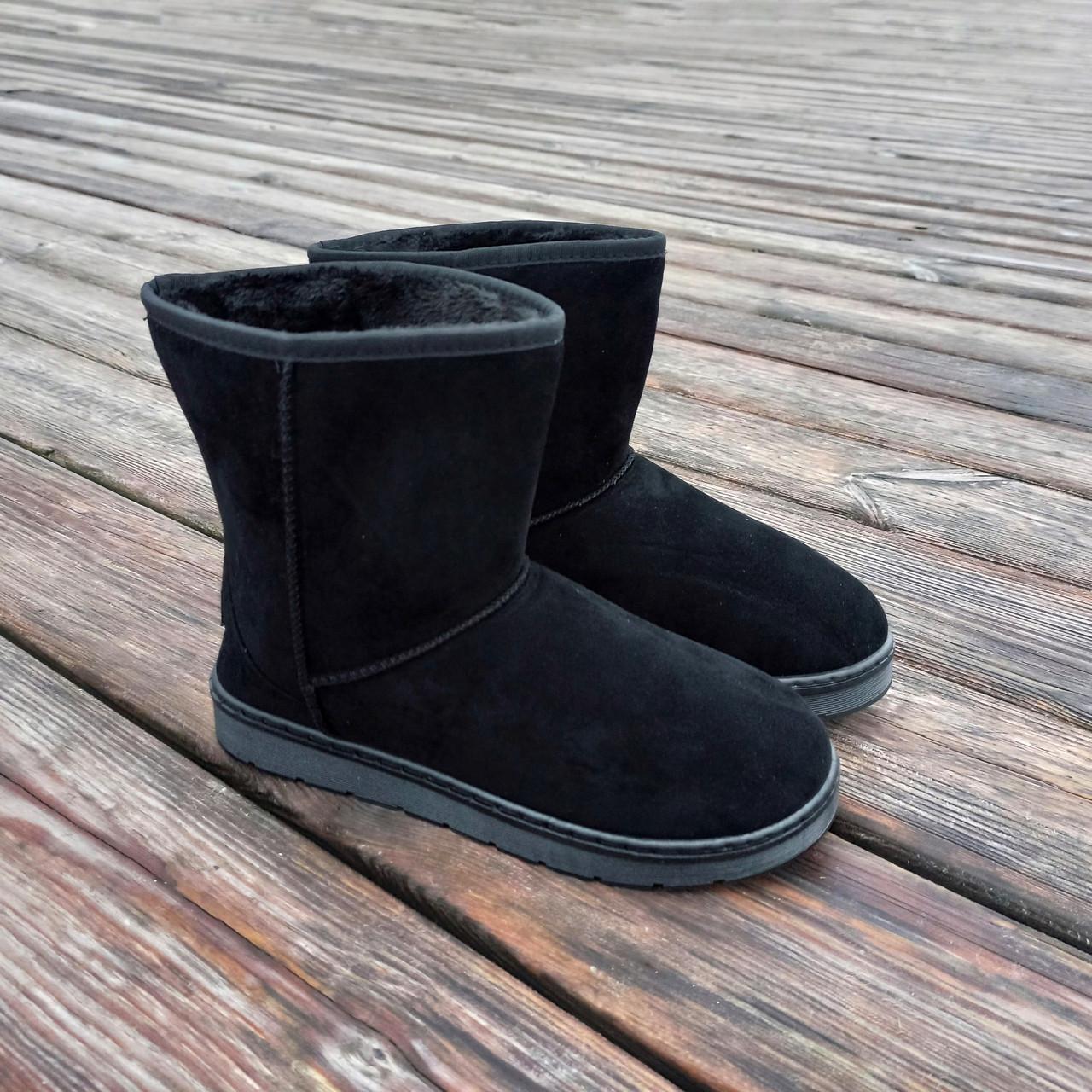 Угги черные мужские UGG эко замша замшевые высокие ботинки сапоги зимние