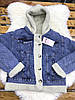 Джинсовая женская куртка с меховым капюшоном S-XL (в расцветках), фото 2