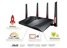 Маршрутизатор роутер/Wi-Fi/интернет/точка доступа для дома/офиса  ASUS RT-AC88U AC3100, 8xGE LAN, 1xGE WAN,