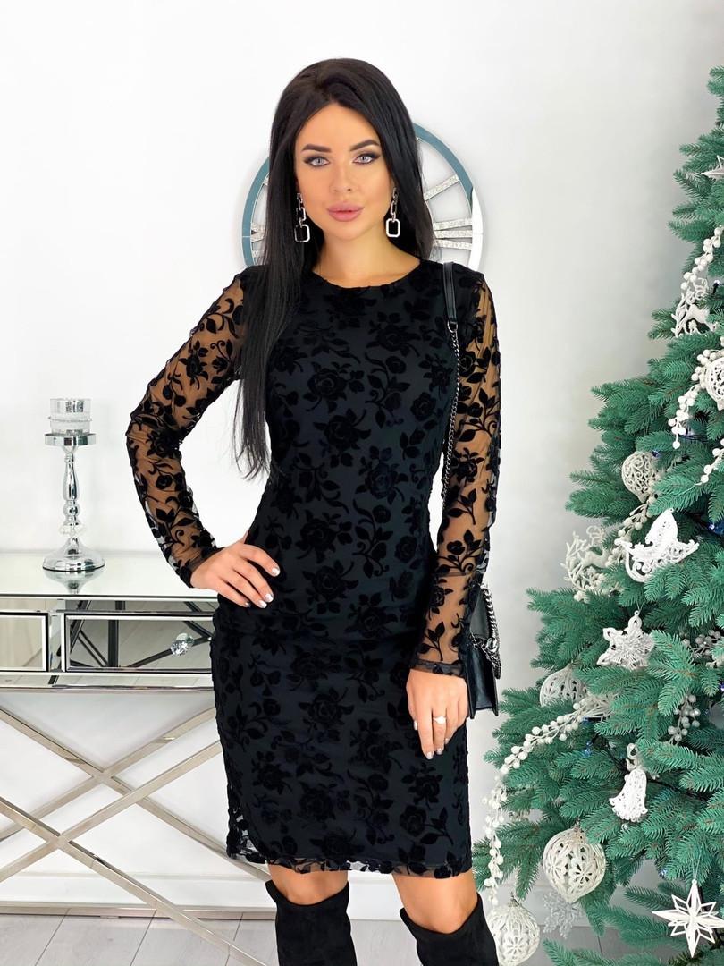 Вечернее платье с узорами на сетке 50-621