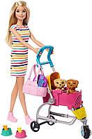 Кукла Барби Прогулка со щенками Оригинал Barbie Stroll 'n Play Pups Playset (GHV92) (887961803624), фото 1