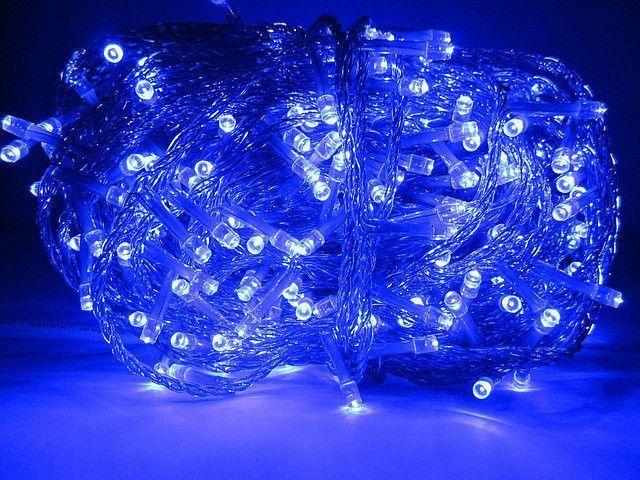 Светодиодная гирлянда нить 500L (синяя) Прозрачный провод