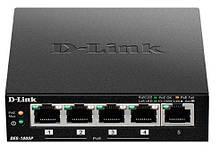 Коммутатор видеонаблюдения, СКС, офиса, сетевое оборудование  D-Link DES-1005P 5xFE (4x PoE, 1x Uplink, 60W)
