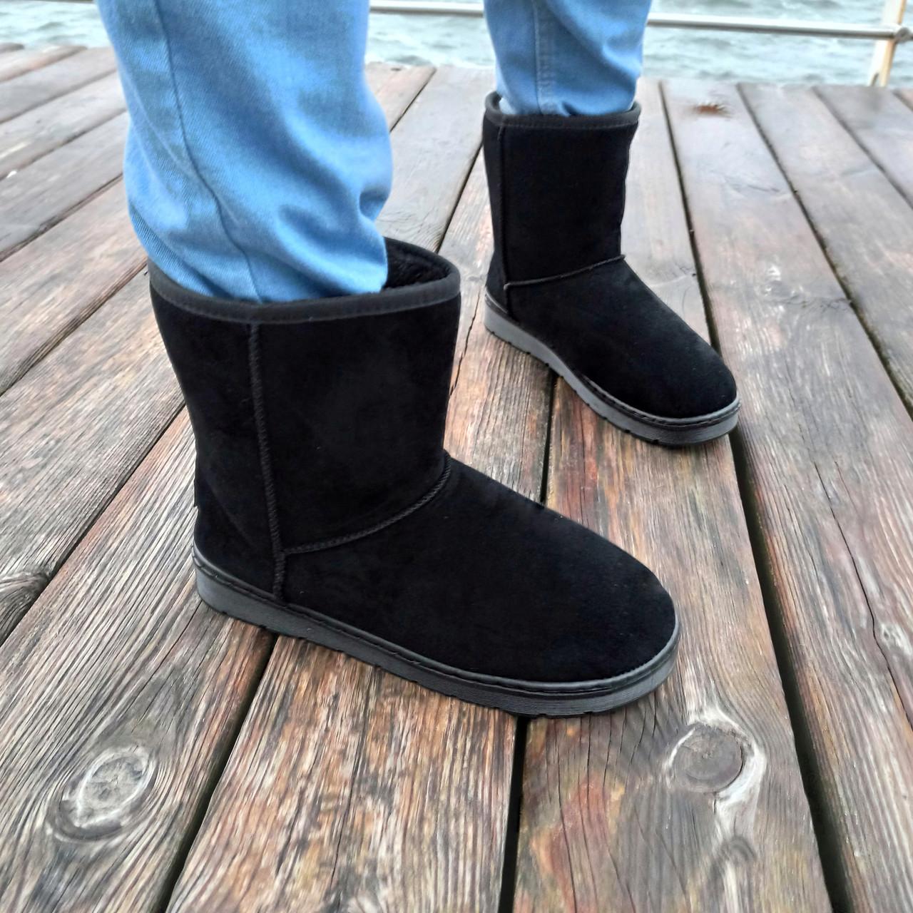 Чорні чоловічі уггі UGG замша еко високі замшеві черевики чоботи зимові