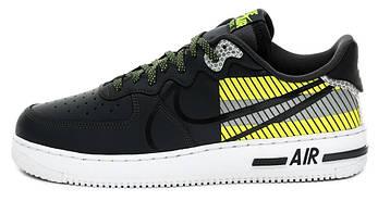 Мужские кроссовки 3M x Nike Air Force 1 React LX Release Information (Premium-class) черные с желтым