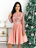 Нарядное комбинированное платье 50-622, фото 3