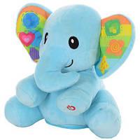 Тварина 0695-NL слон (плюш), рухає головою, муз., світло, бат., кор., 25-30-15см., фото 1