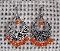 Индийские серьги с оранжевыми бусинами