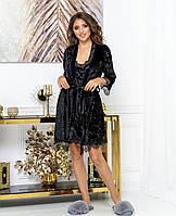 Женский бархатный комплект пеньюар ночная сорочка и халат с кружевом чёрный 42 44 46 48