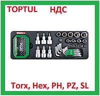 Набор бит, головок, шестигранных, звездочка, торкс, Hex, Torx, PH, SL, биты, Toptul GAAT6502