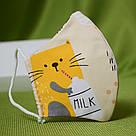 Маска защитная трехслойная детская многоразовая хлопковая Котик, фото 2