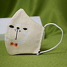 Маска защитная трехслойная детская многоразовая хлопковая Котик, фото 4