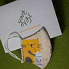 Маска защитная трехслойная детская многоразовая хлопковая Котик, фото 5