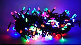 """Новогодняя гирлянда нить """"Свечки"""" Xmas 28 LED ламп мультиколор (черный провод, 4 м)"""