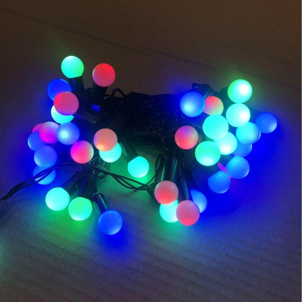 """Новорічна гірлянда нитка """"Кульки"""" Xmas 28 LED ламп мультиколор (чорний провід, 4 м)"""