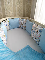 Бортики в кроватку со съемными наволочками из сатина