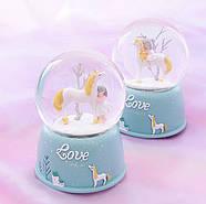 Снежный шар c автоснегом и подсветкой  Love unicorn №1, фото 5
