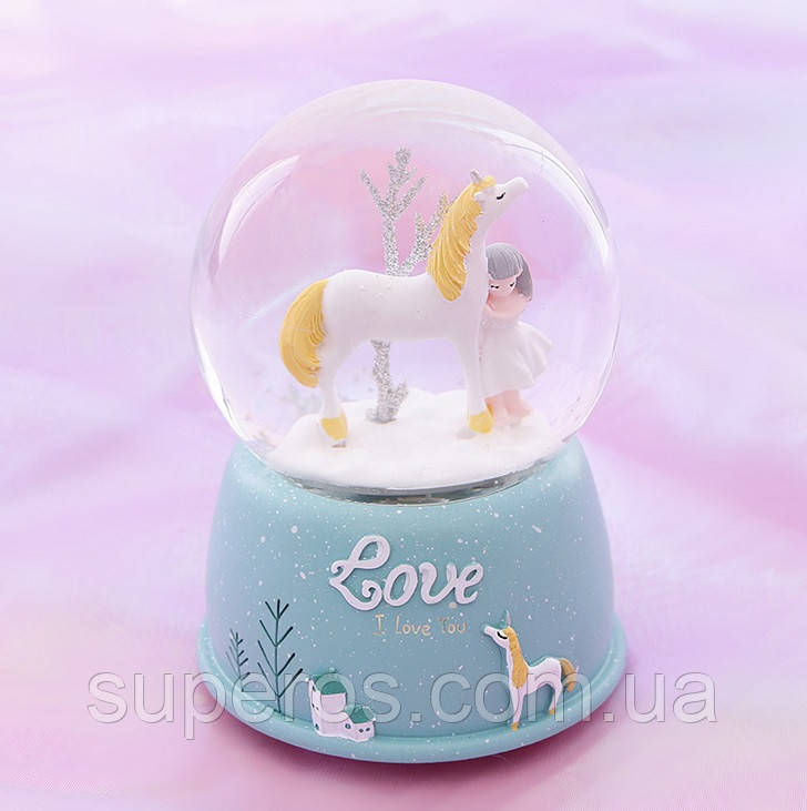 Снежный шар c автоснегом и подсветкой  Love unicorn №1
