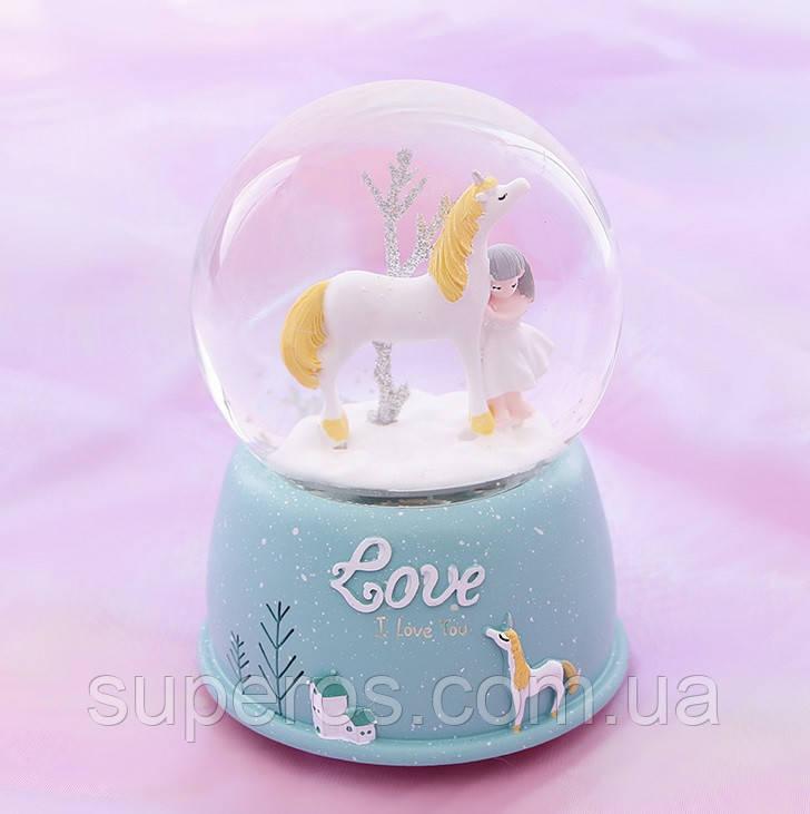 Снігова куля c автоснегом і підсвічуванням Love unicorn №1